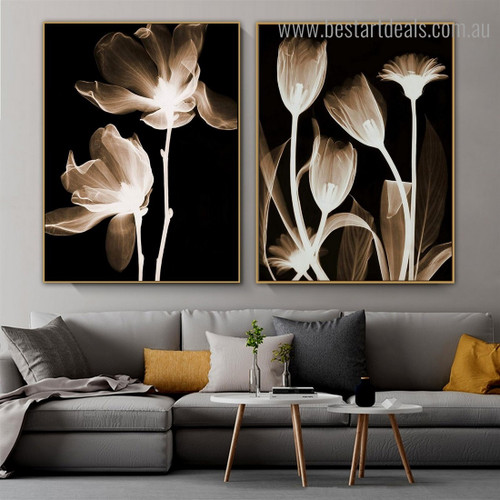 X ray Blooms Abstract Floral Framed Painting Portrait Canvas Print for Room Wall Adornment