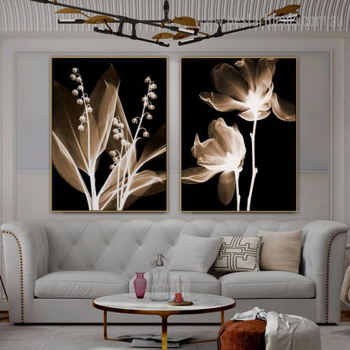 Transparent Foliage Abstract Floral Framed Painting Portrait Canvas Print for Room Wall Finery