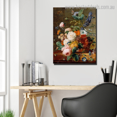 Basket of Flowers Jan Van Huysum Floral Framed Painting Pic Canvas Print for Room Wall Assortment