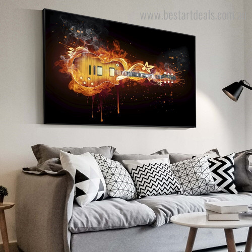 Electric Guitar Abstract Music Modern Framed Painting Picture Canvas Print for Room Wall Finery