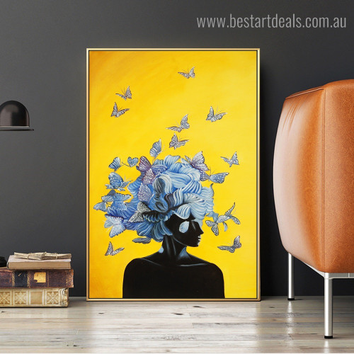 Butterfly Girl Figure Modern Framed Painting Picture Canvas Print for Room Wall Adornment