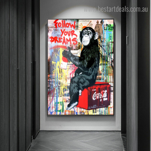 Monkey Painter Animal Graffiti Framed Artwork Photo Canvas Print for Room Wall Decor