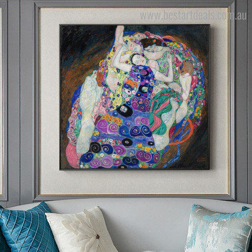 The Maiden Klimt Figure Framed Artwork Photo Canvas Print for Room Wall Decor
