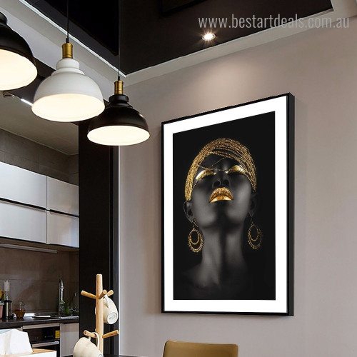 African Lady Figure Framed Artwork Picture Canvas Print for Room Wall Decor