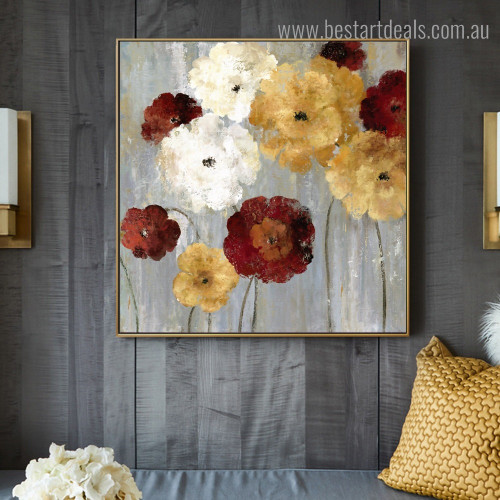 Colorific Blossoms Abstract Floral Framed Painting Image Canvas Print for Room Wall Embellishment