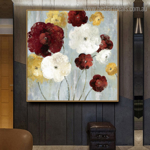 Coloured Flowerets Abstract Floral Framed Painting Photo Canvas Print for Room Wall Flourish