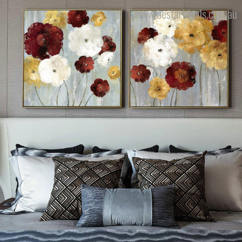 Motley Flowerets Abstract Floral Framed Painting Photo Canvas Print for Room Wall Finery