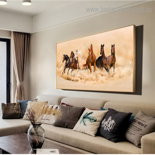 Six Horses Animal Modern Framed Portraiture Image Canvas Print for Room Wall Assortment