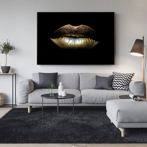 Dark Lips Abstract Modern Framed Portraiture Photo Canvas Print for Room Wall Garniture