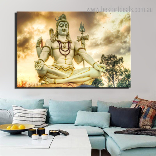 Shiva Sculpture Religious Landscape Modern Framed Effigy Image Canvas Print for Room Wall Disposition