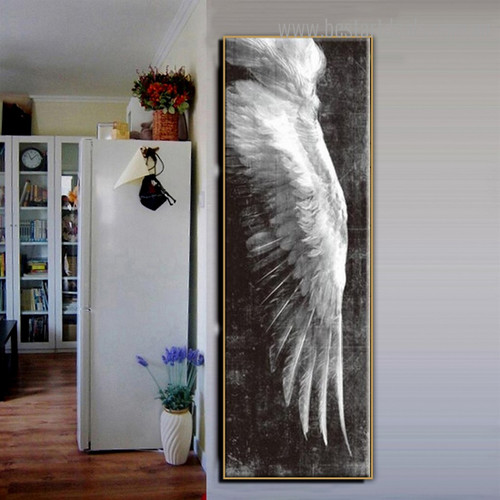 Long Feather Abstract Modern Framed Smudge Photo Canvas Print for Room Wall Adornment
