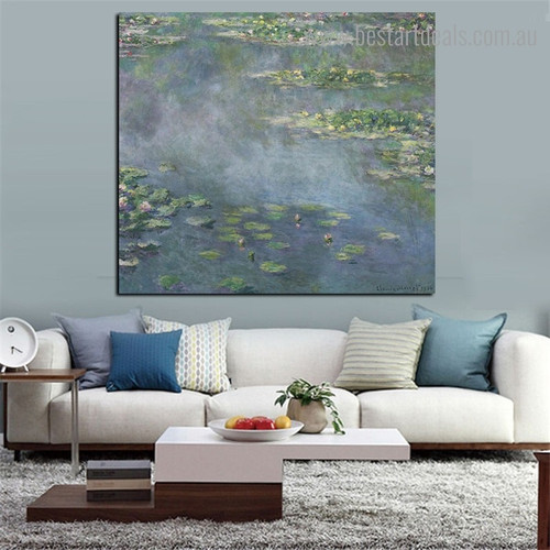 Water Lilies vi Reproduction Botanical Framed Smudge Pic Canvas Print for Room Wall Decor