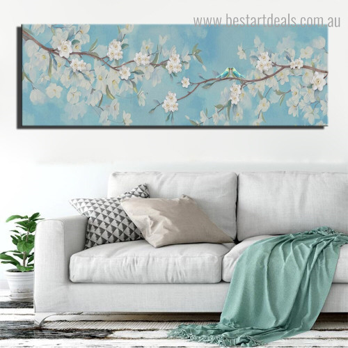 Plum Blossom Flowers Abstract Botanical Framed Smudge Photo Canvas Print for Room Wall Adornment