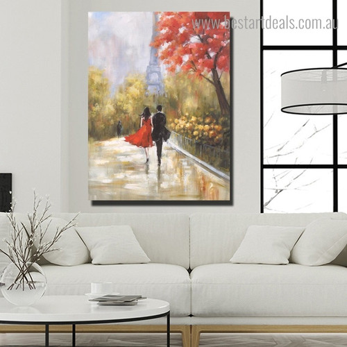 Lovers Walking Abstract Cityscape Framed Painting Photo Canvas Print for Room Wall Equipment