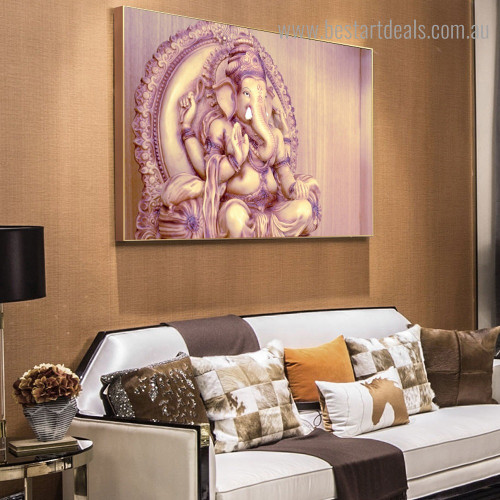 Chaturbhuj Ganesha Religious Modern Framed Artwork Photo Canvas Print for Room Wall Onlay