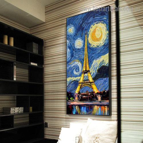 Starry Night Tower Abstract Cityscape Framed Artwork Image Canvas Print for Room Wall Getup