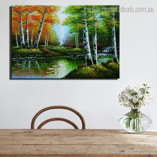 Birch Trees Abstract Nature Landscape Framed Painting Image Canvas Print for Room Wall Decoration
