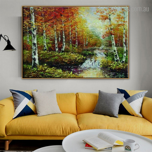Birch Arbors Abstract Nature Landscape Framed Painting Image Canvas Print for Room Wall Getup