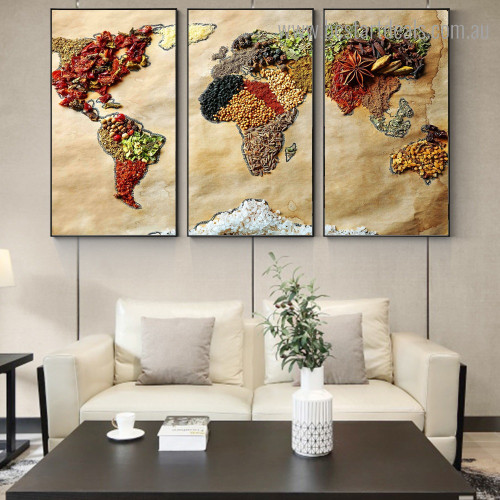 Whole Grain Map Vintage Modern Framed Painting Picture Canvas Print for Room Wall Finery