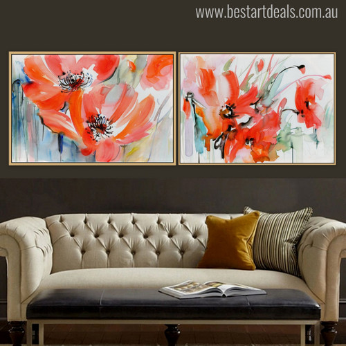 Red Poppies Painting Print for Living Room Wall Art