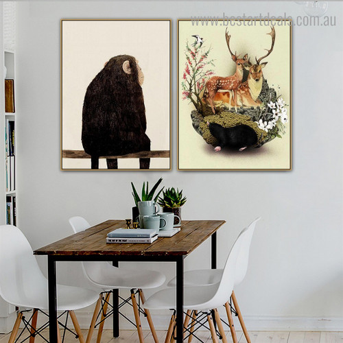 Monkey Deers Animal Nordic Framed Painting Picture Canvas Print for Room Wall Decoration