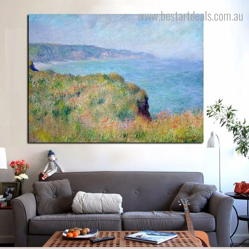 Cliff Near Pourville Landscape Framed Artwork Photo Canvas Print for Room Wall Ornament