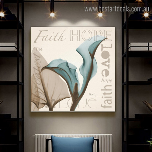 Faith Botanical Quote Framed Effigy Photo Canvas Print for Room Wall Disposition