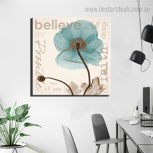 Believe Botanical Quote Framed Effigy Photo Canvas Print for Room Wall Adornment