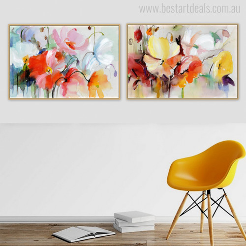 Poppy Flowers Abstract Modern Watercolor Wall Art Print