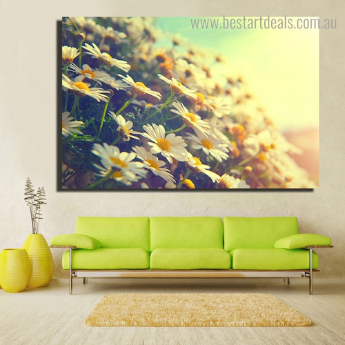 Sunflower Garden Botanical Modern Framed Painting Photo Canvas Print for Room Wall Decoration