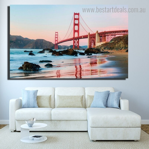 Golden Gate Landscape Modern Seascape Framed Effigy Image Canvas Print for Room Wall Flourish