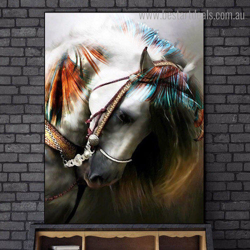 Colorific Horse Abstract Animal Graffiti Framed Artwork Image Canvas Print for Room Wall Molding