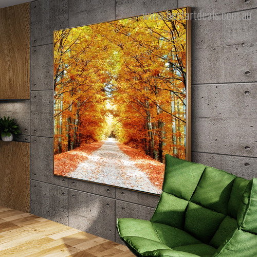 Maple Forest Botanical Contemporary Framed Smudge Portrait Canvas Print for Room Wall Ornamentation
