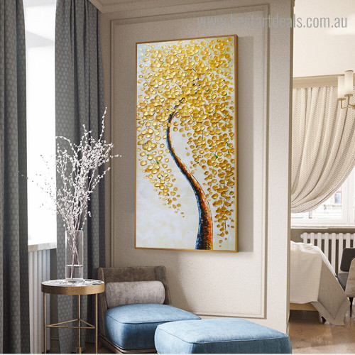Golden Leaves Arbor Abstract Botanical Modern Framed Smudge Image Canvas Print for Room Wall Getup