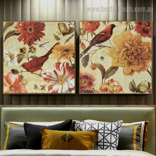 Colorful Floral Botanical Bird Vintage Framed Painting Pic Canvas Print for Room Wall Decor