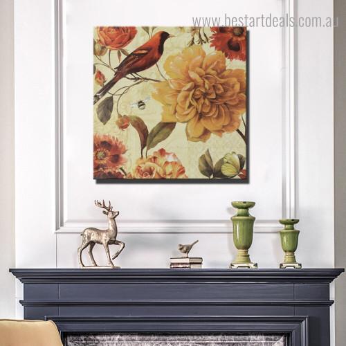 Floral Sprig Botanical Bird Vintage Framed Painting Portrait Canvas Print for Room Wall Ornament