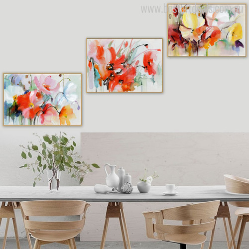 Abstract Watercolor Colourful Poppies Painting Print for Wall Decor