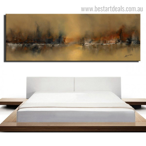 Golden Land Abstract Modern Framed Smudge Picture Canvas Print for Room Wall Outfit