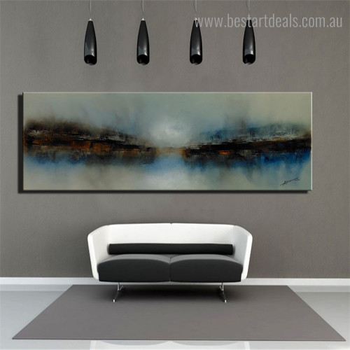 Water Hill Abstract Panoramic Framed Smudge Picture Canvas Print for Room Wall Decor
