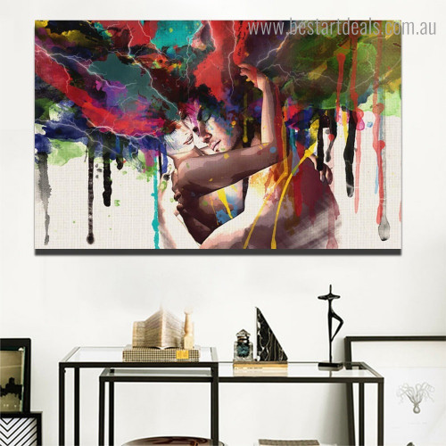 Thunder Couple Abstract Figure Framed Painting Image Canvas Print for Room Wall Outfit