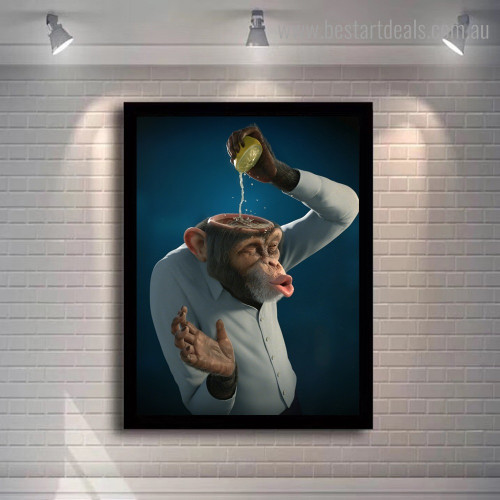 Funny Monkey Animal Modern Framed Painting Picture Canvas Print for Room Wall Getup