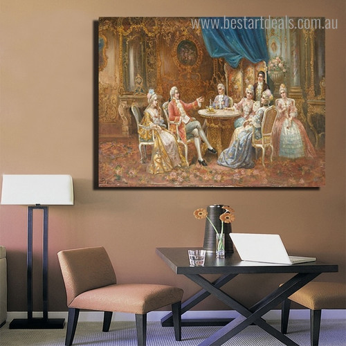 Round Table Society Figure Framed Portmanteau Image Canvas Print for Room Wall Assortment