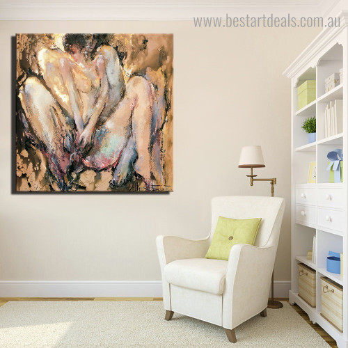 Nude Lady Abstract Framed Artwork Picture Canvas Print for Room Wall Adornment