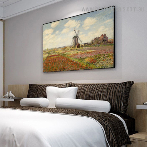 Tulip with Windmill Monet Reproduction Landscape Framed Painting Pic Canvas Print for Room Wall Garnish