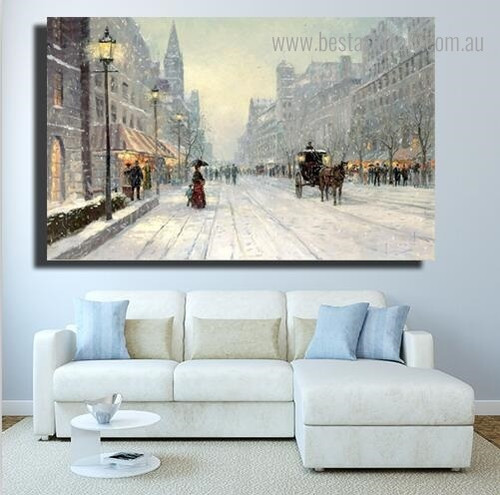 Paris Avenue Snow Abstract Cityscape Framed Painting Picture Canvas Print for Room Wall Equipment