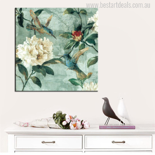 Vintage Style Blue Hummingbird Traditional Painting Print