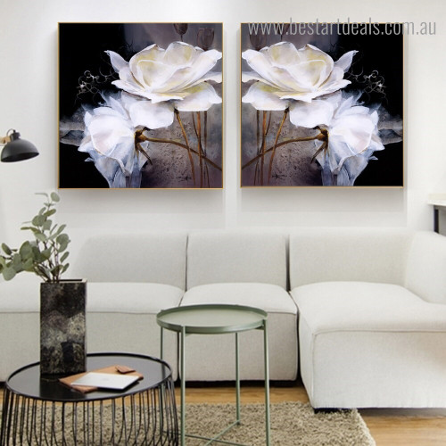 Rosebush Blooms Abstract Floral Modern Framed Artwork  Portrait Canvas Print for Room Wall Finery