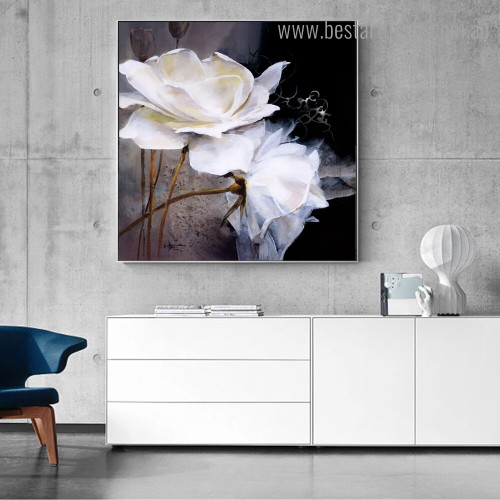 White Roses Abstract Floral Modern Framed Painting Image Canvas Print for Room Wall Finery