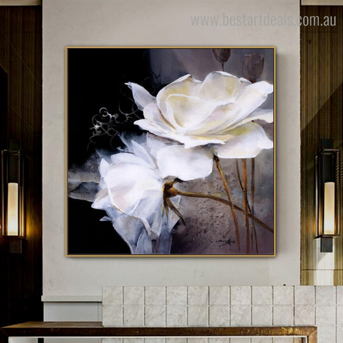Two Roses Abstract Floral Modern Framed Painting Picture Canvas Print for Room Wall Outfit
