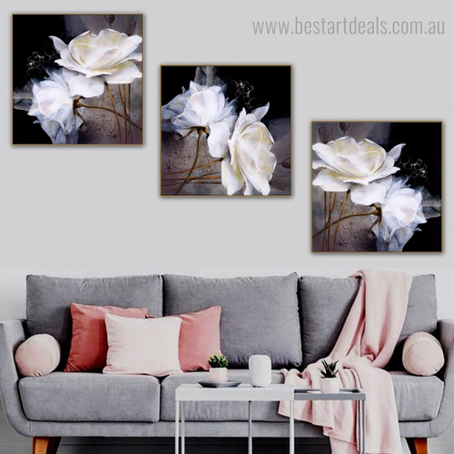 White Rose Flowers Abstract Floral Modern Framed Painting Picture Canvas Print for Room Wall Getup
